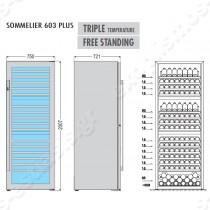Ψυγείο βιτρίνα κρασιών 3 θερμοκρασιών Sommelier 603 Plus TECFRIGO | Διαστάσεις