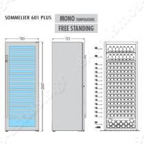 Ψυγείο βιτρίνα κρασιών Sommelier 601 Plus TECFRIGO   Διαστασιολόγιο