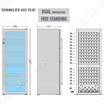 Ψυγείο βιτρίνα κρασιών διπλής θερμοκρασίας Sommelier 602 Plus TECFRIGO | Διαστασιολόγιο